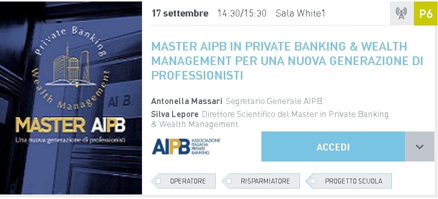 MASTER AIPB IN PRIVATE BANKING & WEALTH<br>MANAGEMENT PER UNA NUOVA GENERAZIONE DI<br>PROFESSIONISTI